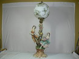 beautiful vintage large capodimonte figurine table lamp adorned