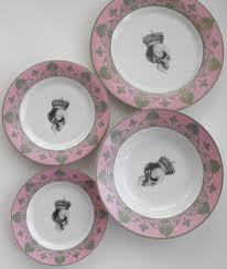 4 pink gray skull dinnerware set