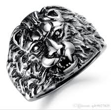 cheap rings for men fashion day jewelry mens lion design silver stainless steel