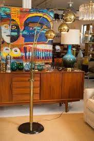 mid century modern arc floor l 3 globe arc floor l antique brass includes cfl bulb