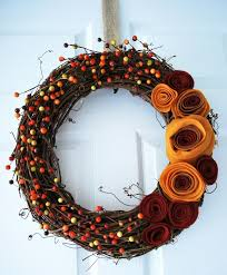 fall wreaths fall wreath with felt rosette flowers