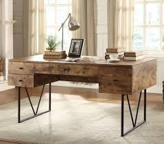 industrial look desk w 4 drawers coaster furniture furniturepick