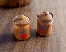 wooden canister etsy