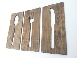 kitchen fork spoon knife wooden wall plaques modern home decor