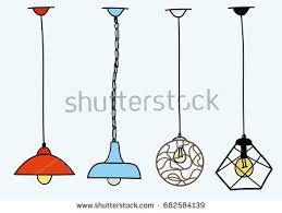modern chandelier pendant lighting set illustration stock vector
