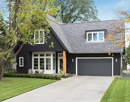 image result for dark grey with putty trim exterior cottage