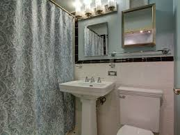 traditional full bathroom with large ceramic tile u0026 flush light in