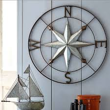 wood compass wall wrought iron metal wall decor