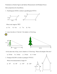 150 M To Feet 1 Worksheet On Similar Figures With Multiple Choice