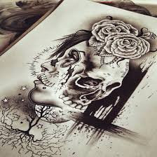skull rose woman tattoo design by cleicha on deviantart