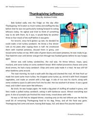 fifth grade reading comprehension worksheet thanksgiving