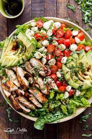 Best Salad Recipes | chicken avocado caprese salad cafe delites
