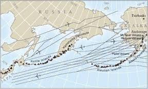 map of aleutian islands air traffic active volcanoes in the aleutians