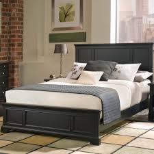 Bed Frame Set Bedroom Black Glaze Wooden Bed Frame With White Bedding