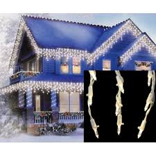 set of 105 warm white led cascading mini icicle lights