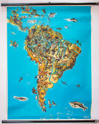 Soth America Map by Animals Of South America Map 1964 For Sale At Pamono