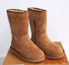 ugg s zip boots ugg cozy suede leather boots in chestnut size 5 us
