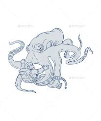 giant octopus fighting astronaut drawing by patrimonio graphicriver