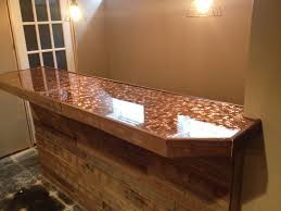 Two Part Epoxy Resin Bar Top Pallet Face With Penny And Epoxy Bar Top Basement Ideas