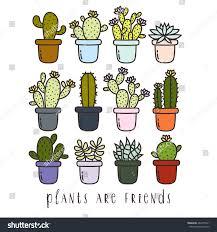 Cute Succulent Pots Big Set Cute Cartoon Cactus Succulents Stock Vector 482377021
