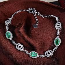 emerald bracelet white gold images Hot sale natural diamond emerald bracelet bangle in solid 18k jpg
