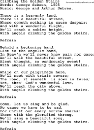 Pain Climbing Stairs by Hymns And Songs About Heaven Climbing The Golden Stairs Lyrics
