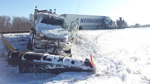transport truck and snow plow collide on highway 401 near ayr