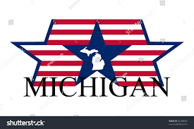 Michigans State Flag Michigan State Map Flag Name Stock Vector 94708054 Shutterstock