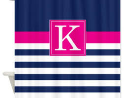Navy And Pink Curtains Pink Striped Curtain On Etsy A Global Handmade And Vintage