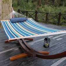 outdoor hammock quilted fabric with pillow for two person double