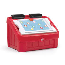 fisher price step 2 art desk 2 in 1 toy box art lid red kids toy box step2