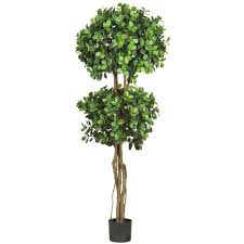 Topiary Balls With Flowers - nearly natural 5 5 ft green eucalyptus double ball topiary silk