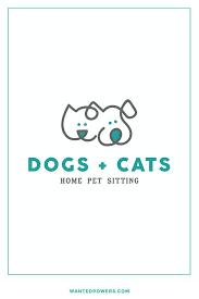 Custom Pre Made Logo Design Dog and Cat Line Art Logo Pet Logo