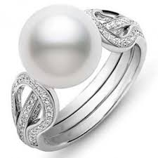 pearl rings images Mikimoto 10mm white south sea pearl diamond ring jpg