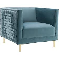 Teal Accent Chair by Tov Furniture Tov A150 Sal Sea Blue Woven Velvet Accent Chair On