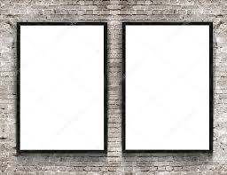 Picture Frame On Wall by Two Blank Banners With Wooden Frame On Brick Wall Background