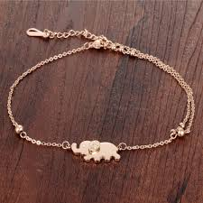 rose gold bracelet with charms images Fate love cute animal barefoot sandal elephant charm anklets jpg