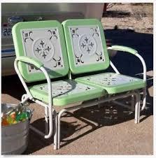 Vintage Patio Furniture Metal by Vintage Patio Loveseat Outdoor Furniture Metal Glider Bench Yard
