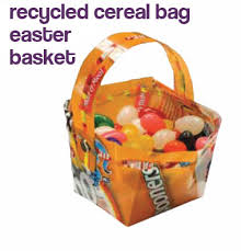 cool easter baskets recycled cereal bag easter basket dollar store crafts
