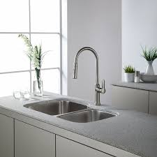 Restaurant Style Kitchen Faucet by Kraus Kbu24 32 Inch Undermount 60 40 Double Bowl 16 Gauge