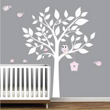 white tree wall decal with birds nursery wall decal white white