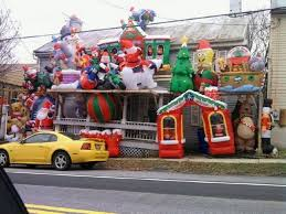 Outdoor Christmas Decorations Roof by Strange Outdoor Christmas Display Many Inflatable Xmas Items