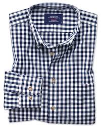 slim fit button down non iron poplin navy blue gingham shirt