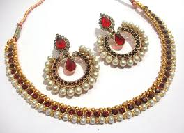 stone set necklace images Maroon pearl stone tilak polki necklace set JPG