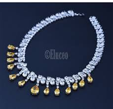 yellow necklace set images Luxurious classic waterdrop cz crystal pendant topaz yellow and jpg