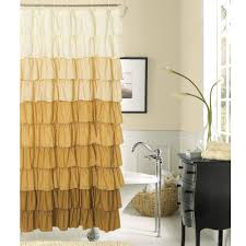 Yellow Brown Curtains Brown Rufflr Shower Curtains Combined With White Bath Up And
