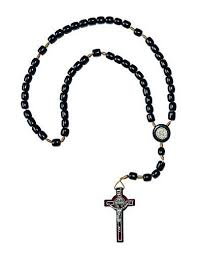 black rosary st benedict black wood rosary necklace favor for men handmade in