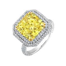 cushion cut engagement rings with halo 2 00 carat fancy yellow cushion cut halo engagement ring
