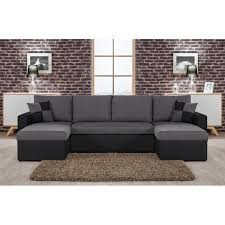 canapé angle u orlando u canapé d angle convertible panoramique noir et gris
