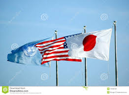 Picture Of Un Flag Us Japan And Un Flag Stock Photo Image Of Patriot Flourish